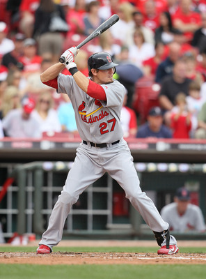 CINCINNATI - MAY 16:   Tyler Greene #27 of the St. Louis Cardinals is at bat during the game against the Cincinnati Reds at Great American Ball Park on May 16, 2010 in Cincinnati, Ohio. (Photo by Andy Lyons/Getty Images)