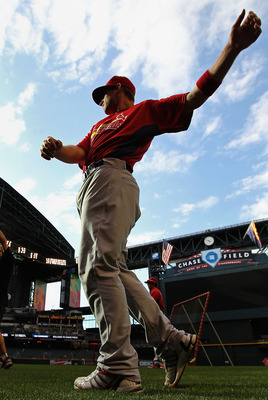 PHOENIX - APRIL 19:  Bryan Anderson #16 of the St. Louis Cardinals warms up on the field before the major league baseball game against the Arizona Diamondbacks at Chase Field on April 19, 2010 in Phoenix, Arizona.  (Photo by Christian Petersen/Getty Image