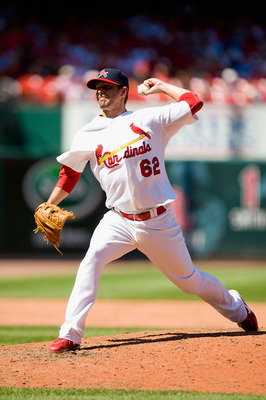 ST. LOUIS - JULY 18: Relief pitcher Evan MacLane #62 of the St. Louis Cardinals in action against the Los Angeles Dodgers at Busch Stadium on July 18, 2010 in St. Louis, Missouri.  (Photo by Dilip Vishwanat/Getty Images)