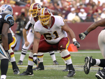 Washington Redskins center Casey Rabach sets to block  against the Carolina Panthers  Nov. 26, 2006 at FedEx Field in Washington.  (Photo by Al Messerschmidt/Getty Images)