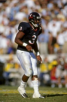 17 Oct 1998: Anthony Poindexter #3 of the Virginia Cavaliers gets ready to move during the game against the Georgia Tech Yellow Jackets at Grant Field in Atlanta, Georgia. Georgia Tech defeated Virginia 41-38. Mandatory Credit: Scott Halleran  /Allsport