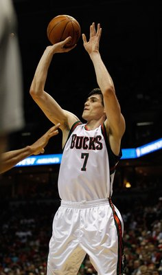 MILWAUKEE - APRIL 30: Ersan Ilyasova #7 of the Milwaukee Bucks puts up a shot against the Atlanta Hawks in Game Six of the Eastern Conference Quarterfinals during the 2010 NBA Playoffs at the Bradley Center on April 30, 2010 in Milwaukee, Wisconsin. The H