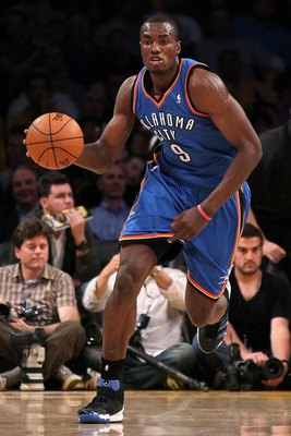 LOS ANGELES, CA - APRIL 27:  Serge Ibaka #9 of the Oklahoma City Thunder moves the ball while taking on the Los Angeles Lakers during Game Five of the Western Conference Quarterfinals of the 2010 NBA Playoffs at Staples Center on April 27, 2010 in Los Ang