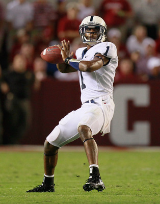 TUSCALOOSA, AL - SEPTEMBER 11:  Quarterback Robert Bolden #1 of the Penn State Nittany Lions looks to pass against the Alabama Crimson Tide at Bryant-Denny Stadium on September 11, 2010 in Tuscaloosa, Alabama.  (Photo by Kevin C. Cox/Getty Images)