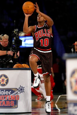 NEW ORLEANS - FEBRUARY 16:  NBA legend B.J. Armstrong participates in the Haier Shooting Stars competition, part of 2008 NBA All-Star Weekend at the New Orleans Arena on February 16, 2008 in New Orleans, Louisiana.  NOTE TO USER: User expressly acknowledg