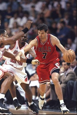 7 Jan 1998:  Forward Toni Kukoc of the Chicago Bulls moves the ball during a game against the Miami Heat at the Miami Arena in Miami, Florida.  The Heat won the game, 99-72. Mandatory Credit: Andy Lyons  /Allsport