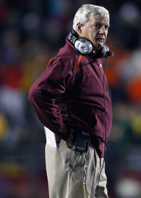 CHESTNUT HILL, MA - OCTOBER 18:  Coach Frank Beamer of the Virginia Tech Hokies reacts against the Boston College Eagles on October 18, 2008 at Alumni Stadium in Chestnut Hill, Massachusetts.  (Photo by Jim Rogash/Getty Images)
