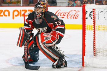 OTTAWA, ON - NOVEMBER 10:  Goalie Pascal LeClaire #33 of the Ottawa Senators guards the net against the Edmonton Oilers in a game at Scotiabank Place on November 10, 2009 in Ottawa, Ontario, Canada. The Ottawa Senators defeated the Edmonton Oilers 4-3 in