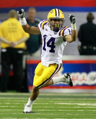ATLANTA - SEPTEMBER 04:  Tyrann Mathieu #14 of the LSU Tigers against the North Carolina Tar Heels during the Chick-fil-A Kickoff Game at Georgia Dome on September 4, 2010 in Atlanta, Georgia.  (Photo by Kevin C. Cox/Getty Images)