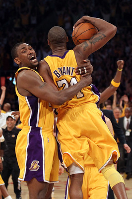 LOS ANGELES, CA - JUNE 17:  Ron Artest #37 and Kobe Bryant #24 of the Los Angeles Lakers celebrates as the Lakers defeated the Boston Celtics in Game Seven of the 2010 NBA Finals at Staples Center on June 17, 2010 in Los Angeles, California.  NOTE TO USER