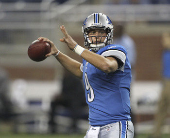 DETROIT - SEPTEMBER 02:  Matthew Stafford #9 of the Detroit Lions warms up prior to the start of the preseason game against the Buffalo Bills at Ford Field on September 2, 2010 in Detroit, Michigan.  (Photo by Leon Halip/Getty Images)