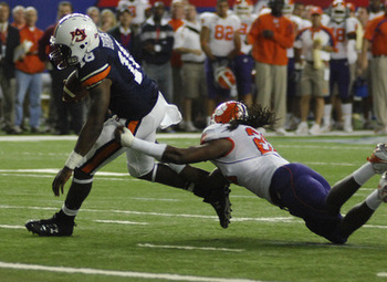 Kodi Burns scores the game-winning touchdown against Clemson in the 2007 Chick-Fil-A Bowl. The two teams meet again Saturday night.