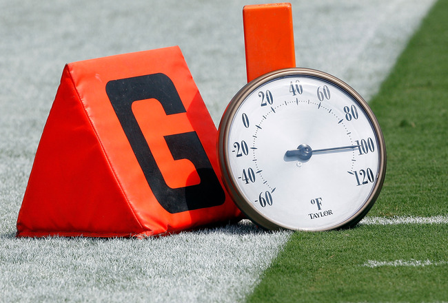 JACKSONVILLE, FL - SEPTEMBER 12:  A thermometer rests on the field during the NFL season opener game between the Denver Broncos and the Jacksonville Jaguars at EverBank Field on September 12, 2010 in Jacksonville, Florida.  (Photo by Sam Greenwood/Getty I