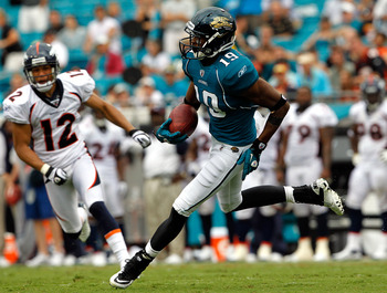 JACKSONVILLE, FL - SEPTEMBER 12:  Tiquan Underwood #19 of the Jacksonville Jaguars runs after making an reception during the NFL season opener game against the Denver Broncos at EverBank Field on September 12, 2010 in Jacksonville, Florida.  (Photo by Sam
