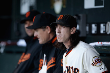 SAN FRANCISCO - JULY 15:  Tim Lincecum #55 of the San Francisco Giants sits in the dugout before their game against the New York Mets in the second inning at AT&T Park on July 15, 2010 in San Francisco, California.  (Photo by Ezra Shaw/Getty Images)