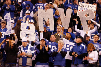 INDIANAPOLIS - JANUARY 16:  Fans of the Indianapolis Colts hold up a '18 MVP' sign in the fourth quarter against the Baltimore Ravens in the AFC Divisional Playoff Game at Lucas Oli Stadium on January 16, 2010 in Indianapolis, Indiana.  (Photo by Andy Lyo