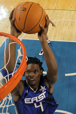 ARLINGTON, TX - FEBRUARY 14:  Chris Bosh #4 of the Eastern Conference goes up for a dunk against the Western Conference during the second half of the NBA All-Star Game, part of 2010 NBA All-Star Weekend at Cowboys Stadium on February 14, 2010 in Arlington