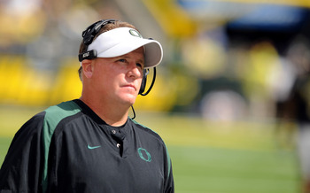 EUGENE, OR - SEPTEMBER 04:  Head coach Chip Kelly of the Oregon Ducks looks up at the video replay board in the second quarter of the game against the New Mexico Lobos at Autzen Stadium on September 4, 2010 in Eugene, Oregon. Oregon won the game 72-0. (Ph