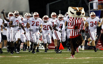 LAS VEGAS - SEPTEMBER 04:  The Wisconsin Badgers, including mascot Bucky Badger, take the field for their game against the UNLV Rebels at Sam Boyd Stadium September 4, 2010 in Las Vegas, Nevada. Wisconsin won 41-21.  (Photo by Ethan Miller/Getty Images)