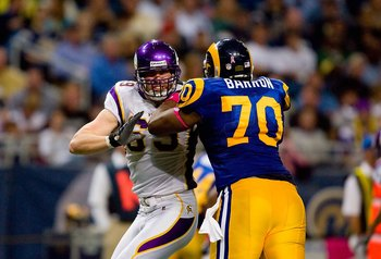 ST. LOUIS - OCTOBER 11:  Jared Allen #69 of the Minnesota Vikings engages Alex Barron #70 of the St. Louis Rams in a block during their NFL game at the Edward Jones Dome on October 11, 2009 in St. Louis, Missouri. The Vikings defeated the Rams 38-10. (Pho