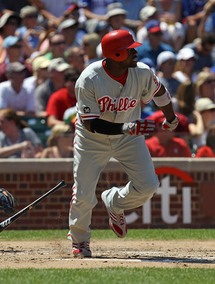 CHICAGO - JULY 16: Ryan Howard #6 of the Philadelphia Phillies runs after hitting the ball against the Chicago Cubs at Wrigley Field on July 16, 2010 in Chicago, Illinois. The Cubs defeated the Phillies 4-3.  (Photo by Jonathan Daniel/Getty Images)