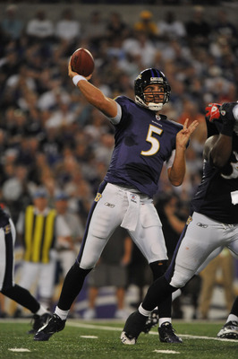 BALTIMORE - AUGUST 28:  Joe Flacco #5 of the Baltimore Ravens passes against the New York Giants at M&amp;T Bank Stadium on August 28, 2010 in Baltimore, Maryland. The Ravens lead the Giants 17-3. (Photo by Larry French/Getty Images)