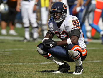 CHICAGO - SEPTEMBER 12: Charles Tillman #33 of the Chicago Bears waits for an instant replay call near the end of the NFL season opening game against the Detroit Lions at Soldier Field on September 12, 2010 in Chicago, Illinois. The Bears defeated the Lio