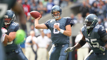 SEATTLE - SEPTEMBER 12:  Quarterback Matt Hasselbeck #8 of the Seattle Seahawks passes during the NFL season opener against the San Francisco 49ers at Qwest Field on September 12, 2010 in Seattle, Washington. The Seahawks defeated the 49ers 31-6. (Photo b
