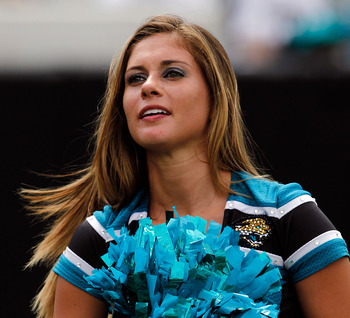 JACKSONVILLE, FL - SEPTEMBER 12:  Cheerleaders for the Jacksonville Jaguars perform during the NFL season opener game against the Denver Broncos at EverBank Field on September 12, 2010 in Jacksonville, Florida.  (Photo by Sam Greenwood/Getty Images)