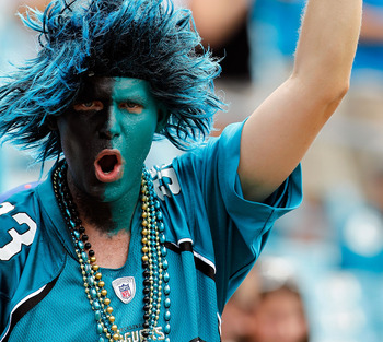 JACKSONVILLE, FL - SEPTEMBER 12: A fan shows his support for the Jacksonville Jaguars during the NFL season opener game against the Denver Broncos at EverBank Field on September 12, 2010 in Jacksonville, Florida.  (Photo by Sam Greenwood/Getty Images)