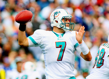 ORCHARD PARK, NY - SEPTEMBER 12:  Chad Henne #7 of the Miami Dolphins readies to pass against the Buffalo Bills  during the NFL season opener at Ralph Wilson Stadium on September 12, 2010 in Orchard Park, New York. Miami won 15-10. (Photo by Rick Stewart/