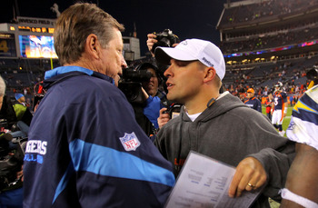 DENVER - NOVEMBER 22:  Head coach Norv Turner (L) of the San Diego Chargers and head coach Josh McDaniels (R) of the Denver Broncos meet and greet at midfield after the game during NFL action at Invesco Field at Mile High on November 22, 2009 in Denver, C