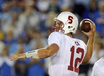 PASADENA, CA - SEPTEMBER 11:  Andrew Luck #12 of Stanford passes in the pocket against UCLA during the game at the Rose Bowl on September 11, 2010 in Pasadena, California.  (Photo by Harry How/Getty Images)