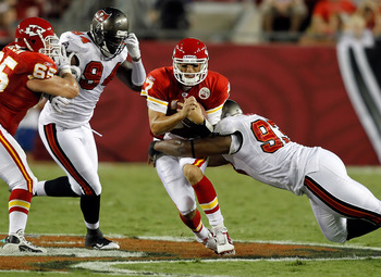 TAMPA, FL - AUGUST 21:  Defensive tackle Gerald McCoy #93 of the Tampa Bay Buccaneers tackles quarterback Matt Cassel #7 of the Kansas City Chiefs during a preseason game at Raymond James Stadium on August 21, 2010 in Tampa, Florida.  (Photo by J. Meric/G