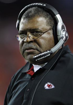 KANSAS CITY, MO - SEPTEMBER 02:  Defensive Coordinator Romeo Crennel of the Kansas City Chiefs looks on from the sidelines during the game against the Green Bay Packers on September 2, 2010 at Arrowhead Stadium in Kansas City, Missouri.  (Photo by Jamie S
