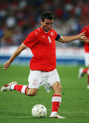 BASEL, SWITZERLAND - AUGUST 12:  Switzerland Captain Alexander Frei in action during the International Friendly between Switzerland and Italy at St. Jakob-Park on August 12, 2009 in Basel, Switzerland.  (Photo by Bryn Lennon/Getty Images)