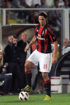 CESENA, ITALY - SEPTEMBER 11:  Zlatan Ibrahimovic of Milan in action during the Serie A match between AC Cesena and AC Milan at Dino Manuzzi Stadium on September 11, 2010 in Cesena, Italy.  (Photo by Roberto Serra/Getty Images)