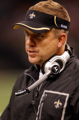 NEW ORLEANS - AUGUST 21:  Head coach Sean Payton of the New Orleans Saints watches a play against the Houston Texans at the Louisiana Superdome on August 21, 2010 in New Orleans, Louisiana.  (Photo by Chris Graythen/Getty Images)