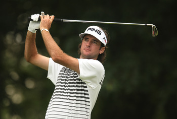 LEMONT, IL - SEPTEMBER 09:  Bubba Watson watches his tee shot on the second hole during the first round of the BMW Championship at Cog Hill Golf & Country Club on September 9, 2010 in Lemont, Illinois.  (Photo by Scott Halleran/Getty Images)