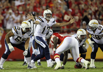 San Diego Chargers quarterback Philip Rivers shows his frustration with his offensive line during the Chargers loss to Kansas City, on Monday night.
