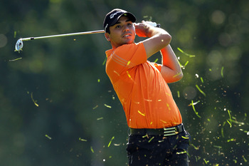 NORTON, MA - SEPTEMBER 05:  Jason Day of Australia hits an approach shot on the 13th hole during the third round of the Deutsche Bank Championship at TPC Boston on September 5, 2010 in Norton, Massachusetts.  (Photo by Mike Ehrmann/Getty Images)