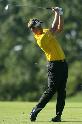 LEMONT, IL - SEPTEMBER 09:  Luke Donald of England plays a shot on the 11th hole during the first round of the BMW Championship at Cog Hill Golf & Country Club on September 9, 2010 in Lemont, Illinois.  (Photo by Scott Halleran/Getty Images)