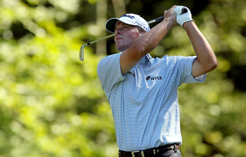 NORTON, MA - SEPTEMBER 06:  Steve Stricker tees off from the eighth tee during the final round of the Deutsche Bank Championship at TPC Boston on September 6, 2010 in Norton, Massachusetts.  (Photo by Mike Ehrmann/Getty Images)