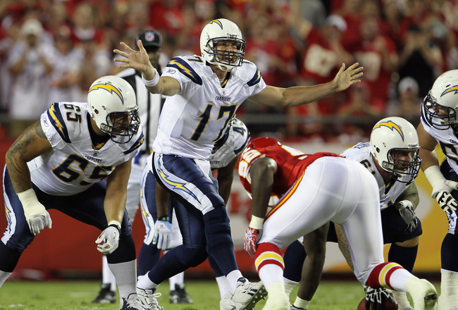 KANSAS CITY, MO - SEPTEMBER 13:  Quarterback Philip Rivers #17 of the San Diego Chargers audibles during the 1st quarter of the game against the Kansas City Chiefs on September 13, 2010 at Arrowhead Stadium in Kansas City, Missouri.  (Photo by Jamie Squir