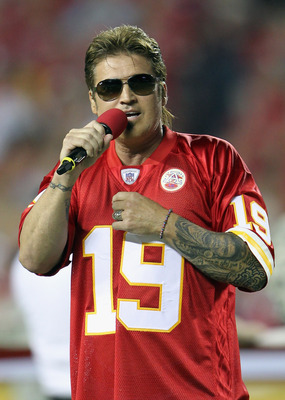 KANSAS CITY, MO - SEPTEMBER 13:  Singer Billy Ray Cyrus sings the National Anthem prior to the start of the game between the San Diego Chargers and the Kansas City Chiefs on September 13, 2010 at Arrowhead Stadium in Kansas City, Missouri.  (Photo by Jami