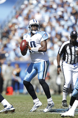 NASHVILLE - SEPTEMBER 12: Vince Young #10 of the Tennessee Titans looks to pass against the Oakland Raiders during the NFL season opener at LP Field on September 12, 2010 in Nashville, Tennessee. The Titans defeated the Raiders 38-13. (Photo by Joe Robbin