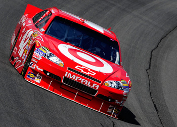 BROOKLYN, MI - AUGUST 13:  Juan Pablo Montoya, driver of the #42 Target Chevrolet, drives on track during practice for the NASCAR Sprint Cup Series CARFAX 400 at Michigan International Speedway on August 13, 2010 in Brooklyn, Michigan.  (Photo by Rusty Ja