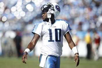 NASHVILLE - SEPTEMBER 12: Vince Young #10 of the Tennessee Titans looks on against the Oakland Raiders during the NFL season opener at LP Field on September 12, 2010 in Nashville, Tennessee. The Titans defeated the Raiders 38-13. (Photo by Joe Robbins/Get