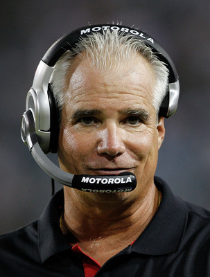 JACKSONVILLE, FL - SEPTEMBER 02:  Head coach Mike Smith of the Atlanta Falcons watches the action during a preseason game against the Jacksonville Jaguars at EverBank Field on September 2, 2010 in Jacksonville, Florida.  (Photo by Sam Greenwood/Getty Imag