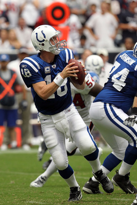 HOUSTON - SEPTEMBER 12:  Quarterback Peyton Manning #18 of the Indianapolis Colts in the NFL season opener against the Houston Texans at Reliant Stadium on September 12, 2010 in Houston, Texas.  (Photo by Ronald Martinez/Getty Images)